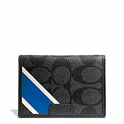 COACH COACH HERITAGE SLIM PASSCASE ID WALLET - CHARCOAL/MARINE - F74710
