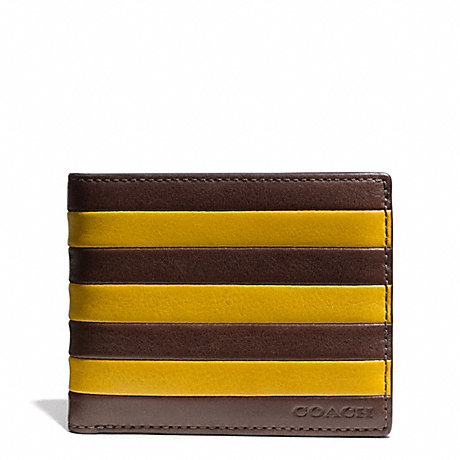 COACH BLEECKER BAR STRIPE LEATHER SLIM BILLFOLD ID WALLET - NEW MUSTARD/OAK - f74720