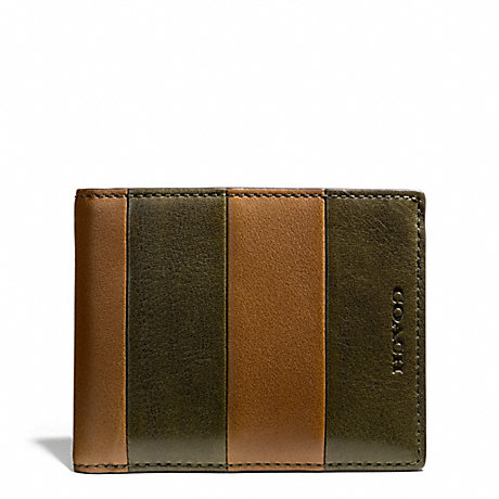 COACH BLEECKER BAR STRIPE LEATHER SLIM BILLFOLD ID WALLET - DOE/DARK OLIGHT GOLDVE - f74720