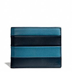 COACH BLEECKER BAR STRIPE LEATHER SLIM BILLFOLD ID WALLET - CADET/DARK ROYAL - F74720