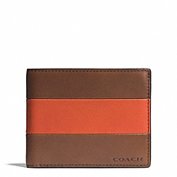 COACH BLEECKER BAR STRIPE LEATHER SLIM BILLFOLD ID WALLET - SAMBA/FAWN - F74720