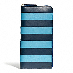 COACH BLEECKER BAR STRIPE ACCORDION WALLET - CADET/DARK ROYAL - F74722