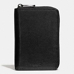COACH THOMPSON LARGE ZIP AROUND WALLET IN LEATHER - BLACK - F74726