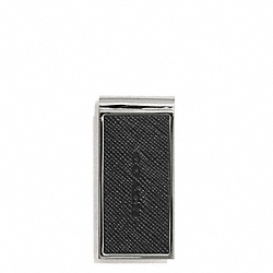 COACH LEXINGTON SAFFIANO LEATHER MONEY CLIP - BLACK - F74735