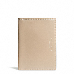 COACH CROSBY POLISHED LEATHER SLIM BILLFOLD ID WALLET - SANDSTONE - F74756