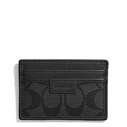 COACH COACH HERITAGE SIGNATURE SLIM CARD CASE - CHARCOAL/BLACK - F74759