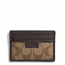 COACH COACH HERITAGE SIGNATURE SLIM CARD CASE - SILVER/KHAKI/BROWN - F74759