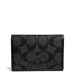 COACH HERITAGE SIGNATURE TOPFOLD ID WALLET - CHARCOAL/BLACK - F74760