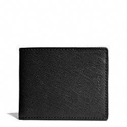 COACH LEXINGTON SAFFIANO SLIM BILLFOLD ID WALLET - BLACK - F74765