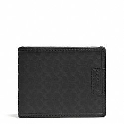 COACH SIGNATURE EMBOSSED SLIM BILLFOLD ID WALLET - BLACK - F74773