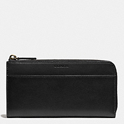 COACH BLEECKER LARGE HALF ZIP WALLET IN LEATHER - BLACK - F74784