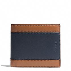 COACH HERITAGE SPORT COMPACT ID WALLET - SADDLE/NAVY - F74792
