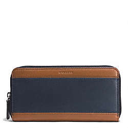 COACH HERITAGE SPORT ACCORDION WALLET - SADDLE/NAVY - F74795