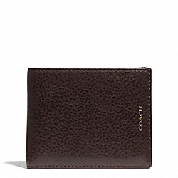 COACH ESSEX LEATHER SLIM BILLFOLD ID WALLET - B4/BARK/DARK BROWN - F74797