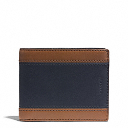 COACH HERITAGE SPORT SLIM BILLFOLD ID WALLET - SADDLE/NAVY - F74798