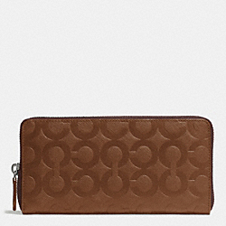 COACH ACCORDION WALLET IN OP ART EMBOSSED LEATHER - FAWN - F74802