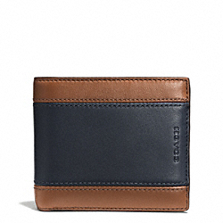 COACH HERITAGE SPORT ID COIN WALLET - SADDLE/NAVY - F74805