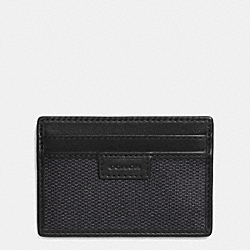 COACH COACH HERITAGE CHECK CARD CASE - CHARCOAL - F74814