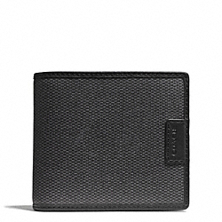 COACH HERITAGE CHECK COMPACT ID WALLET - CHARCOAL - F74817