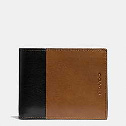 COACH BLEECKER SLIM BILLFOLD ID WALLET IN HARNESS LEATHER - FAWN/BLACK - F74819