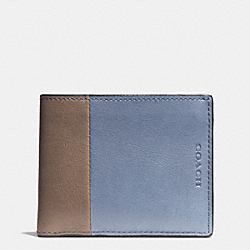 COACH BLEECKER SLIM BILLFOLD ID WALLET IN HARNESS LEATHER - FROST BLUE/WET CLAY - F74819