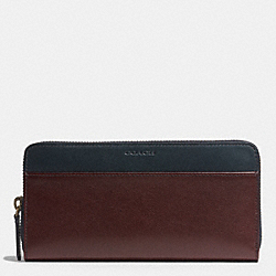 COACH BLEECKER ACCORDION WALLET IN HARNESS LEATHER - CORDOVAN/NAVY - F74821