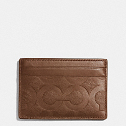 COACH ID CARD CASE IN OP ART EMBOSSED LEATHER - FAWN - F74825