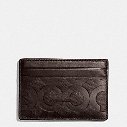 COACH ID CARD CASE IN OP ART EMBOSSED LEATHER - MAHOGANY - F74825