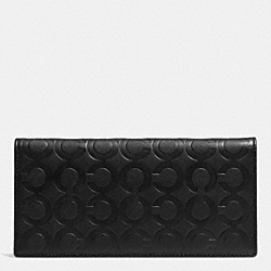 COACH BREAST POCKET WALLET IN OP ART EMBOSSED LEATHER - BLACK - F74827