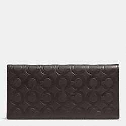 COACH BREAST POCKET WALLET IN OP ART EMBOSSED LEATHER - MAHOGANY - F74827