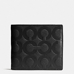 COACH BLEECKER COIN WALLET IN OP ART EMBOSSED LEATHER - BLACK - F74829