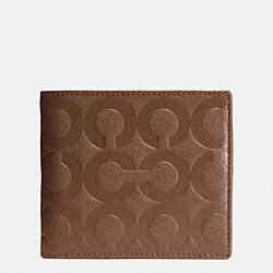 COACH BLEECKER COIN WALLET IN OP ART EMBOSSED LEATHER - FAWN - F74829