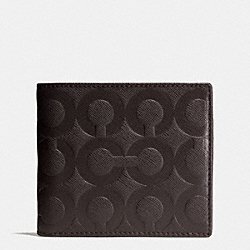 BLEECKER COIN WALLET IN OP ART EMBOSSED LEATHER - f74829 -  MAHOGANY