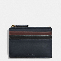 COACH BLEECKER ZIP CARD CASE IN COLORBLOCK LEATHER - NAVY/CORDOVAN - F74830