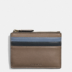 COACH BLEECKER ZIP CARD CASE IN COLORBLOCK LEATHER - WET CLAY/FROST BLUE - F74830