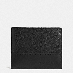 COACH CAMDEN LEATHER SLIM BILLFOLD ID WALLET - BLACK/BLACK - F74834