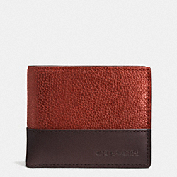 COACH CAMDEN LEATHER SLIM BILLFOLD ID WALLET - RUST/DARK BROWN - F74834
