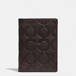 SLIM BILLFOLD CARD CASE IN OP ART EMBOSSED LEATHER - MAHOGANY - COACH F74839