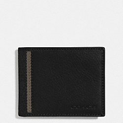 HERITAGE WEB LEATHER SLIM BILLFOLD ID WALLET - SILVER/BLACK - COACH F74880