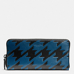 COACH ACCORDION WALLET IN HOUNDSTOOTH LEATHER - COBALT/BLACK - F74881