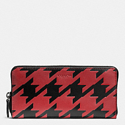 COACH ACCORDION WALLET IN HOUNDSTOOTH LEATHER - RED CURRANT/BLACK - F74881