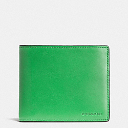 COACH COMPACT ID WALLET IN LEATHER - GREEN - F74896