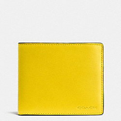 COACH COMPACT ID WALLET IN LEATHER - YELLOW - F74896