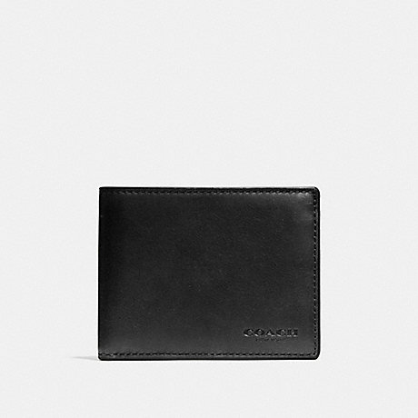 COACH SLIM BILLFOLD ID WALLET - BLACK - F74900