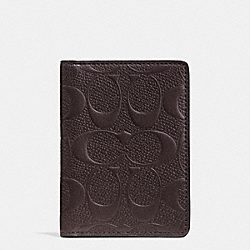 SLIM BIFOLD CARD CASE IN SIGNATURE CROSSGRAIN LEATHER - MAHOGANY - COACH F74913