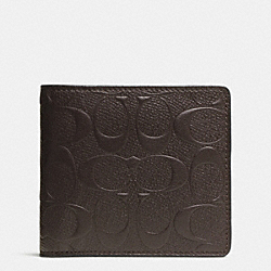 COIN WALLET IN SIGNATURE CROSSGRAIN LEATHER - f74922 - MAHOGANY