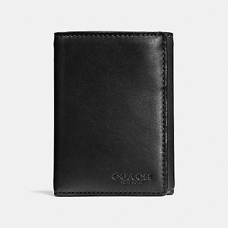 COACH TRIFOLD WALLET - BLACK - F74948