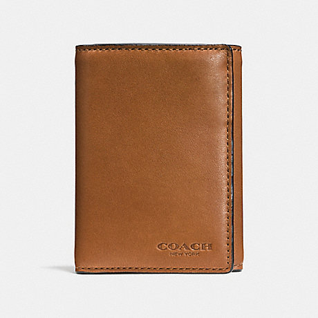 COACH TRIFOLD WALLET - SADDLE - F74948