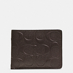SLIM BILLFOLD WALLET IN SIGNATURE CROSSGRAIN LEATHER - f74962 - MAHOGANY