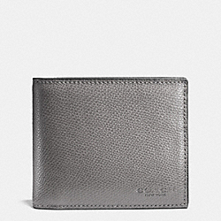 COMPACT ID IN CROSSGRAIN LEATHER - ASH - COACH F74974